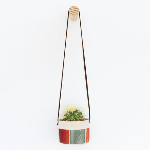cotton canvas fabric hanging planters with wooden wall peg hook