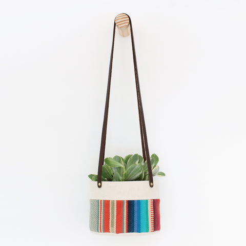 Medium Natural Canvas Hanging Planter | Red + Blue