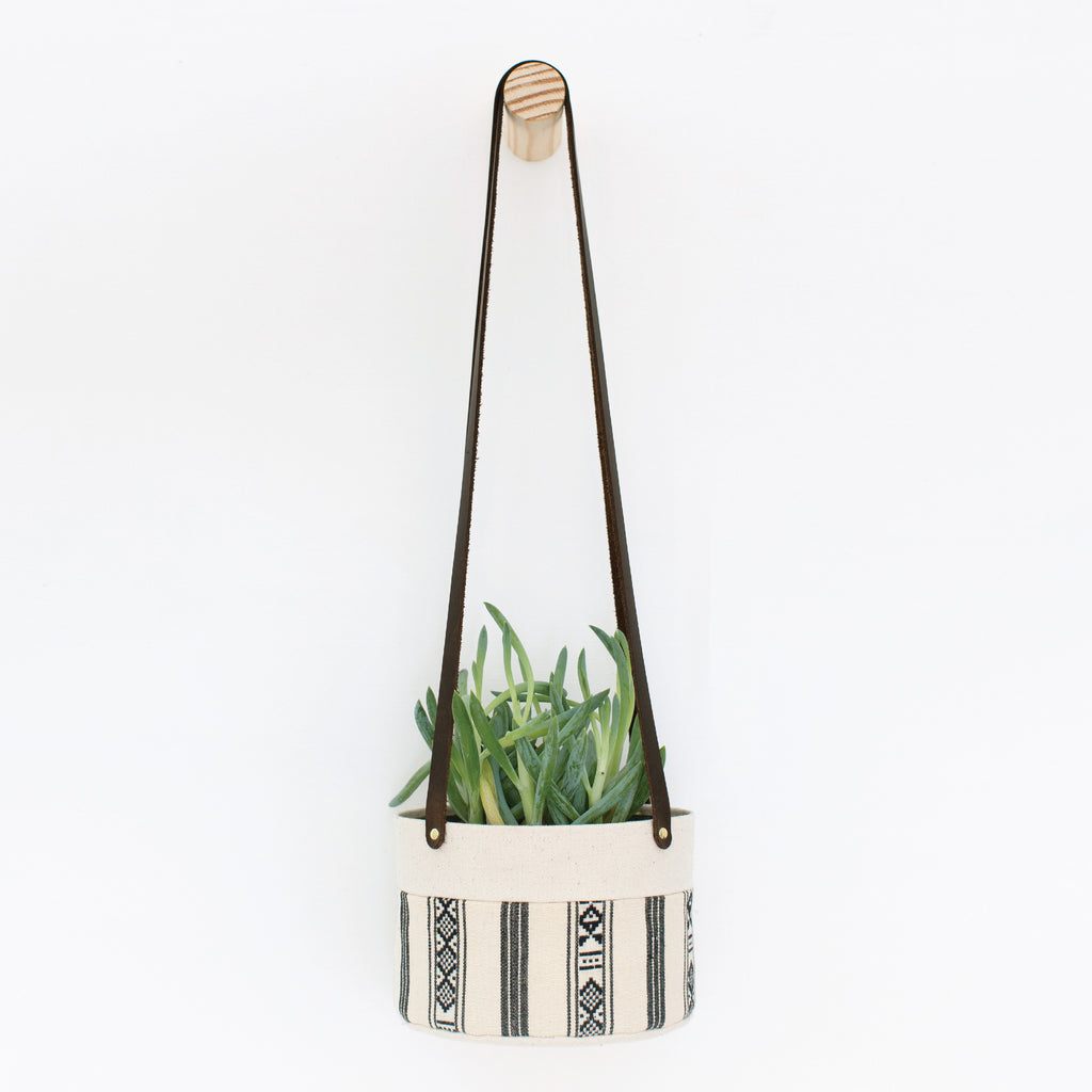 Medium Natural Canvas Hanging Planter | Black + White