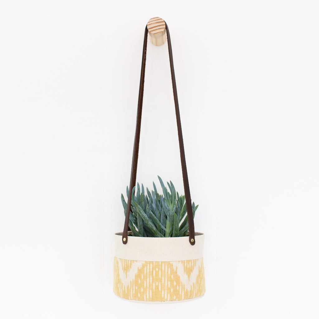 Medium Natural Canvas Hanging Planter | Marigold Ikat