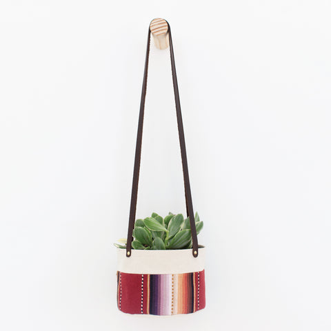 Medium Natural Canvas Hanging Planter | Maroon