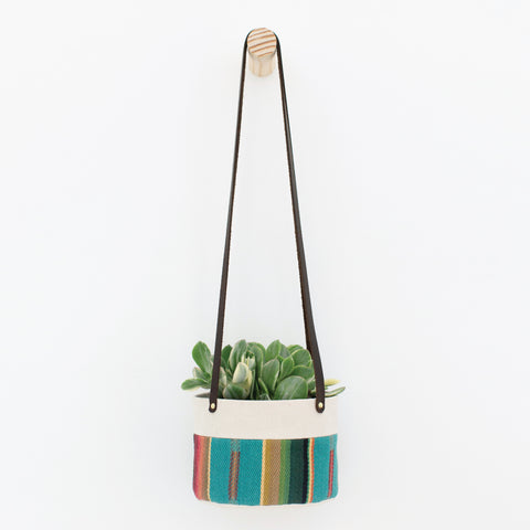 Medium Natural Canvas Hanging Planter | Turquoise