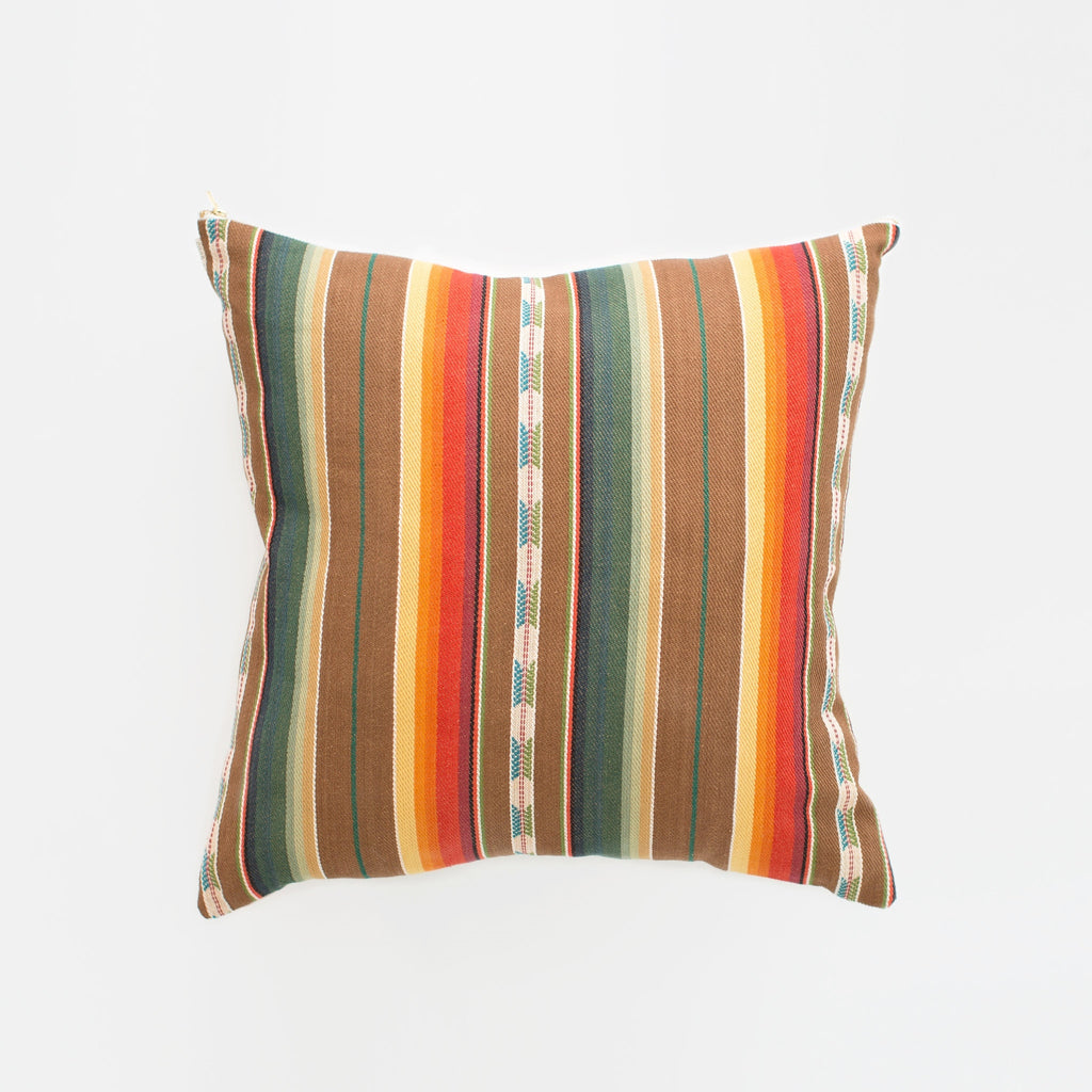 Natural Canvas Throw Pillow: Brown + Orange