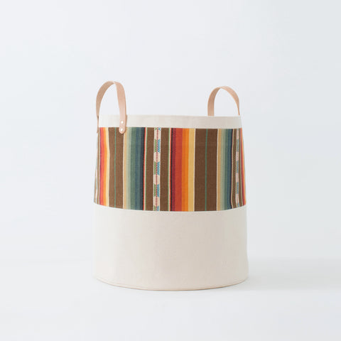 Large Natural Canvas Bucket Basket: Brown + Orange