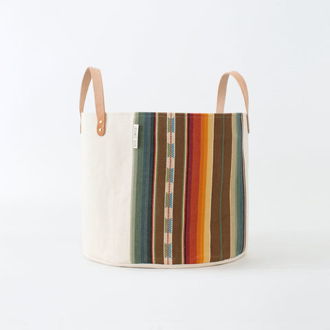 Medium Natural Canvas Bucket Basket: Brown + Orange