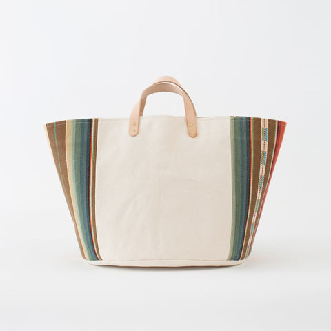 Medium Natural Canvas Bucket Basket | Orange