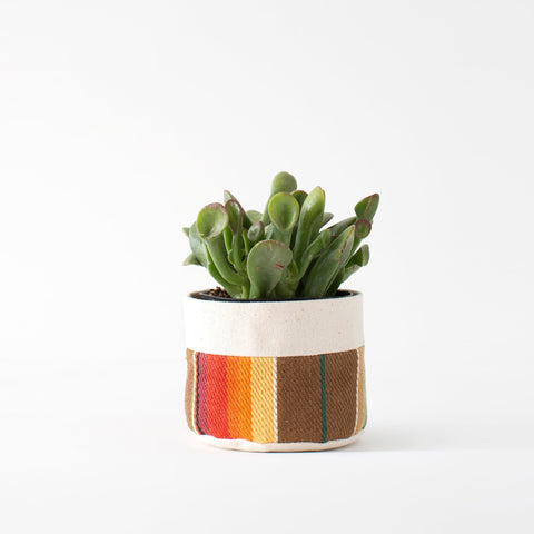 "4"" Natural Canvas Sitting Planter: Brown + Orange"
