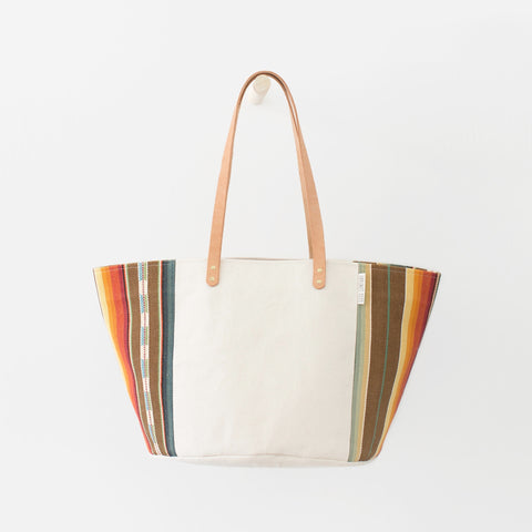 Natural Canvas Bucket Tote: Brown + Orange