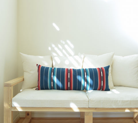 Natural Canvas Lumbar Pillow | Blue Stripe