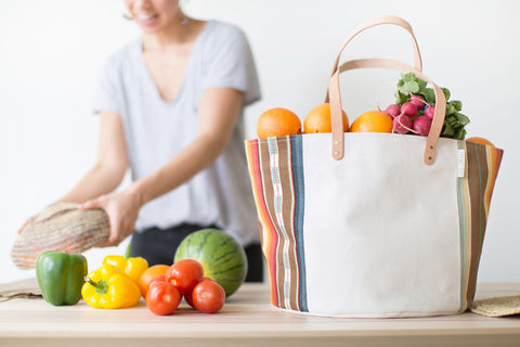 Natural Canvas Bucket Tote | Gray Stripe