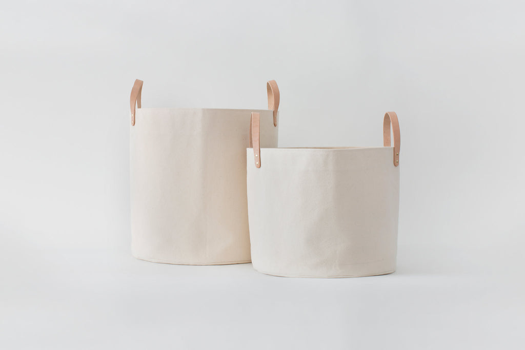 Medium Natural Canvas Bucket Basket | Gray Stripe