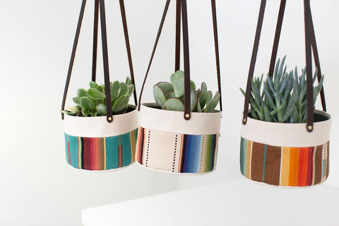 Medium Natural Canvas Hanging Planter | Orange