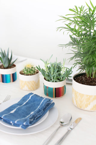 Medium Natural Canvas Sitting Planter | Blue Stripe