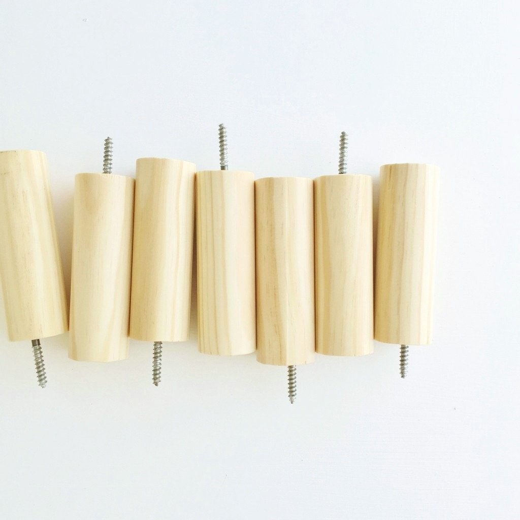 natural wood wall peg hooks with screws