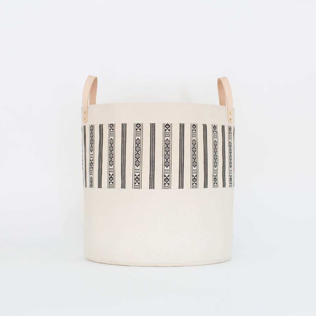 Large Natural Canvas Bucket Basket | Black + White