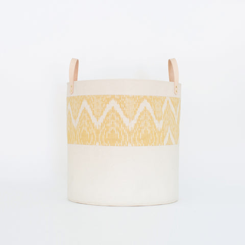 Large Natural Canvas Bucket Basket | Marigold Ikat