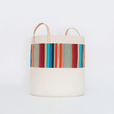 Large Natural Canvas Bucket Basket | Red + Blue