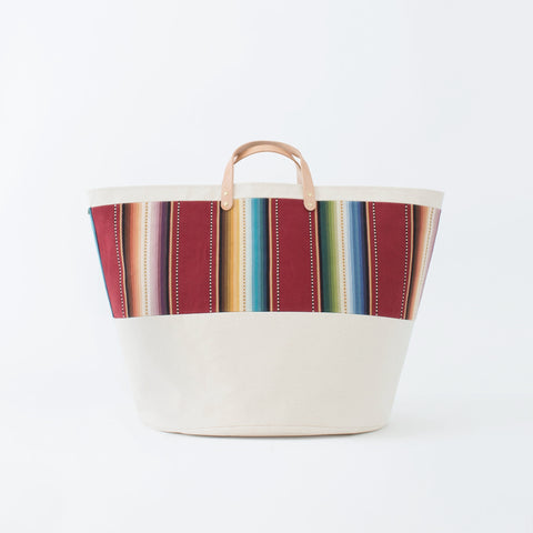 Large Natural Canvas Bucket Basket | Maroon