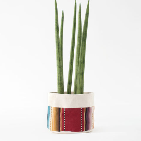 "6"" Natural Canvas Sitting Planter: Maroon Stripes"