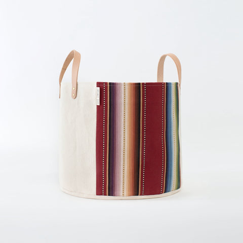 Medium Natural Canvas Bucket Basket: Maroon Stripes