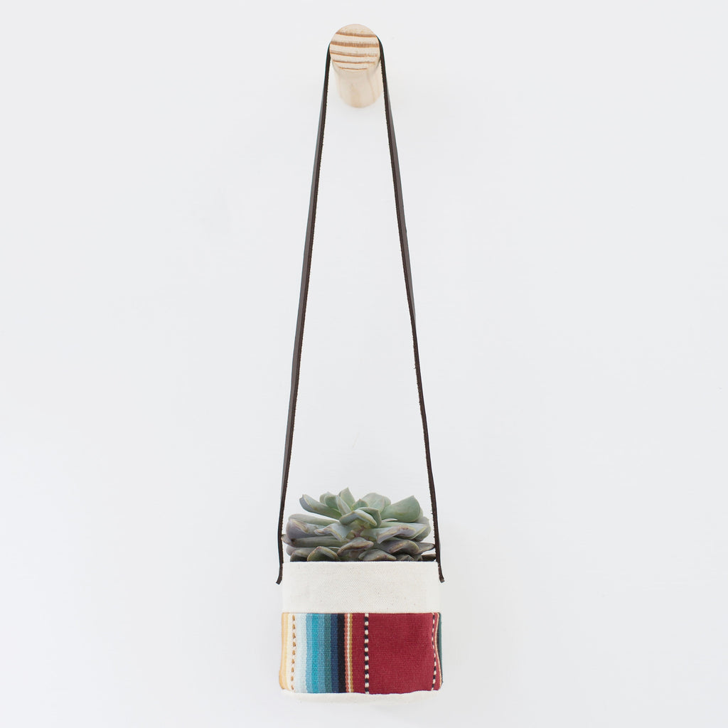 "4"" Natural Canvas Hanging Planter: Maroon Stripes"