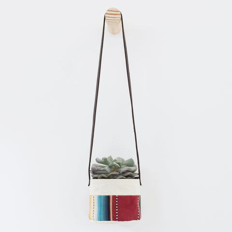 Small Natural Canvas Hanging Planter  |  Maroon