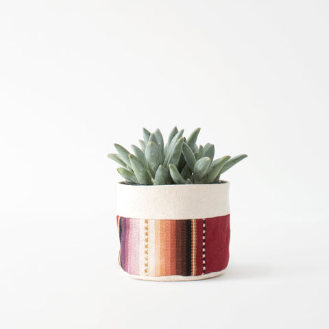 Small Natural Canvas Sitting Planter  |  Maroon