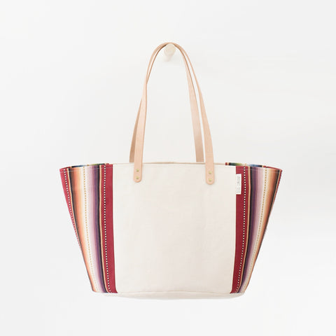 Natural Canvas Bucket Tote | Maroon