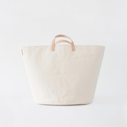 Large Minimalist Canvas Bucket Basket | Natural