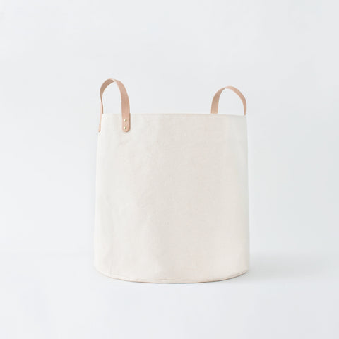 Large Minimalist Natural Canvas Bucket Basket