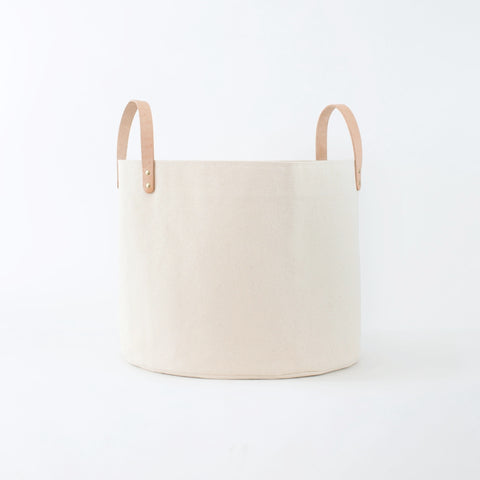 Medium Minimalist Canvas Bucket Basket | Natural