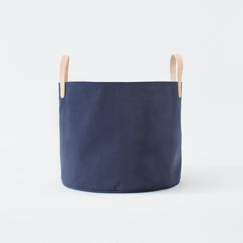 Medium Minimalist Canvas Bucket Basket | Midnight