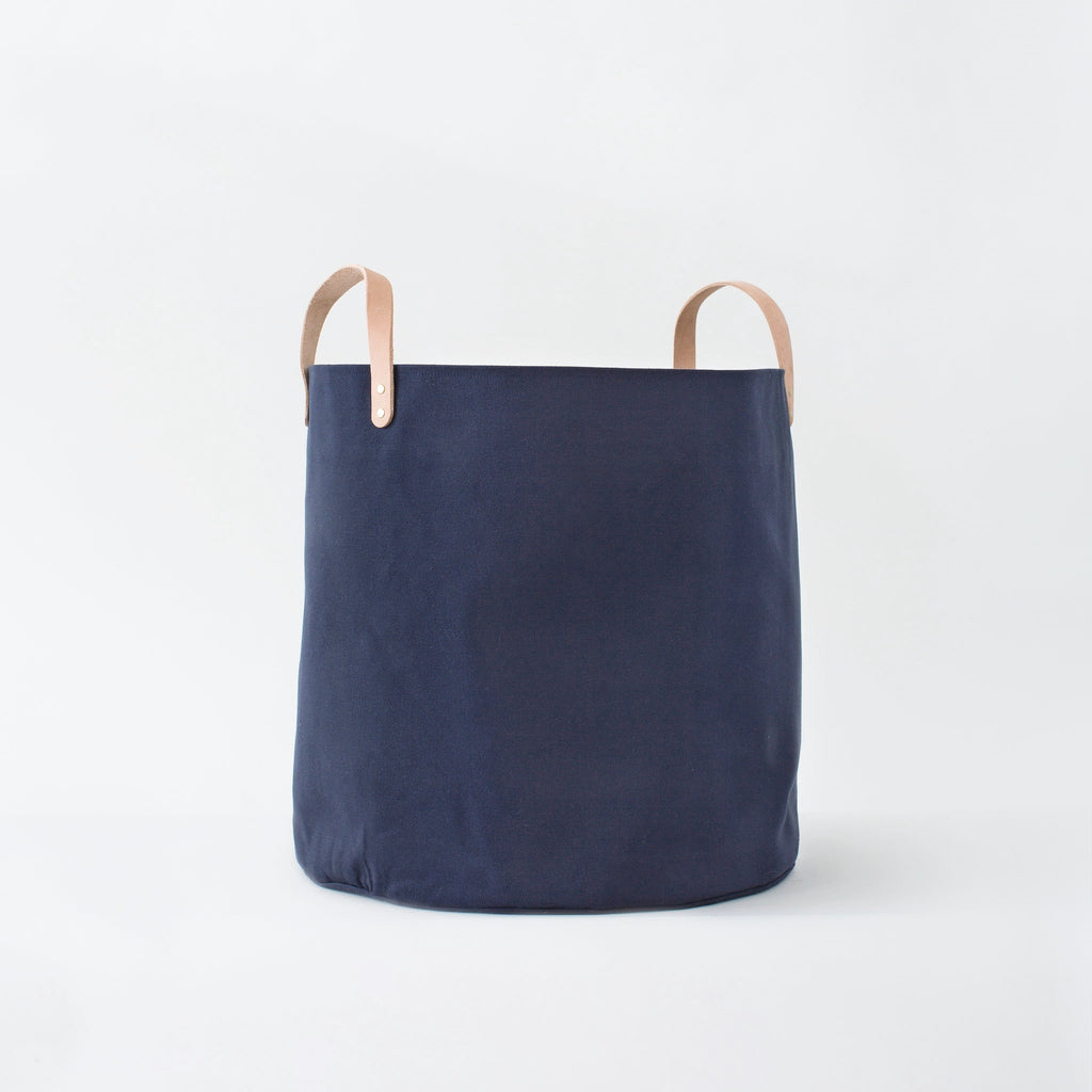 Large Minimalist Canvas Bucket Basket | Midnight