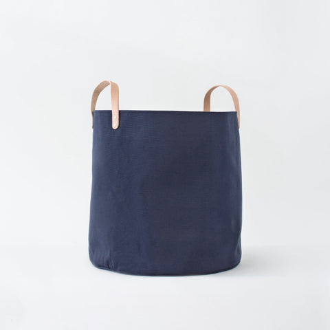 Large Minimalist Midnight Canvas Bucket Basket