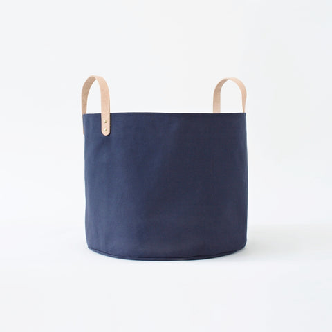 Medium Minimalist Midnight Canvas Bucket Basket