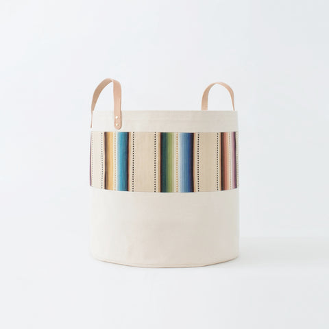 Large Natural Canvas Bucket Basket: Tan Stripes
