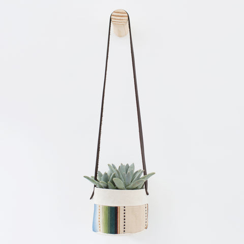 Small Natural Canvas Hanging Planter  |  Tan