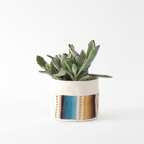 Small Natural Canvas Sitting Planter  |  Tan