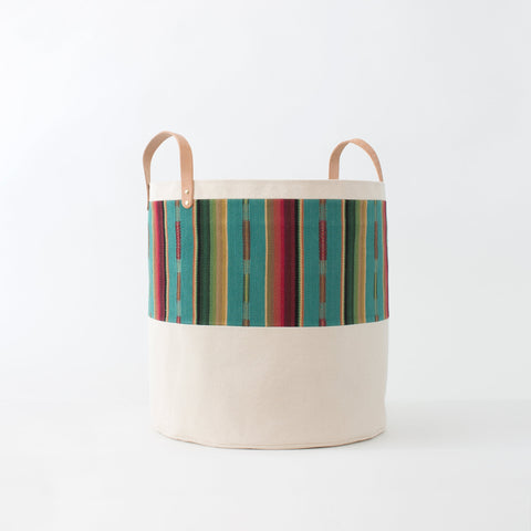 Large Natural Canvas Bucket Basket | Turquoise