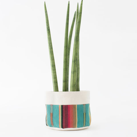 "6"" Natural Canvas Sitting Planter: Turquoise + Red"