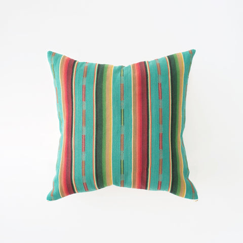 Natural Canvas Throw Pillow | Turquoise