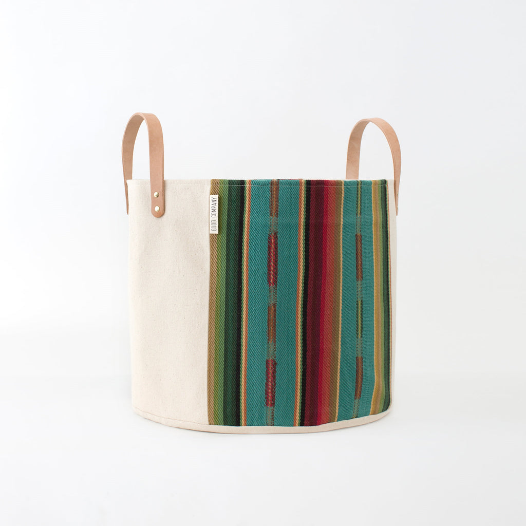 Medium Natural Canvas Bucket Basket | Turquoise