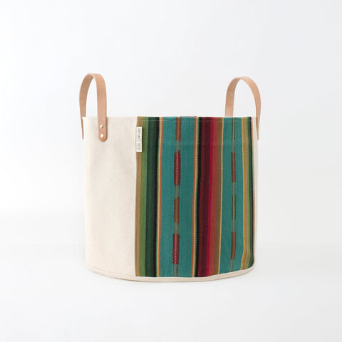 Medium Natural Canvas Bucket Basket: Turquoise + Red
