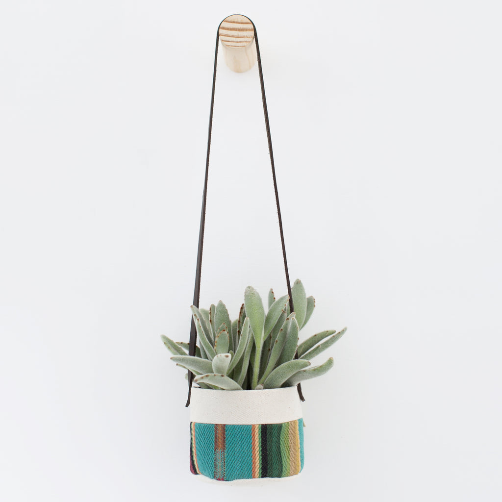 Small Natural Canvas Hanging Planter  |  Turquoise