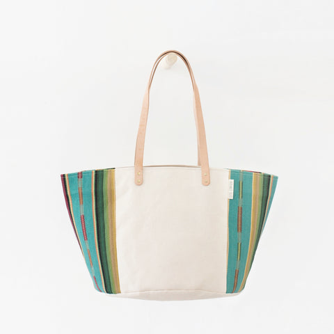 Natural Canvas Bucket Tote: Turquoise + Red