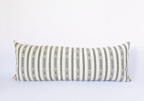 Natural Canvas Lumbar Pillow | Black + White