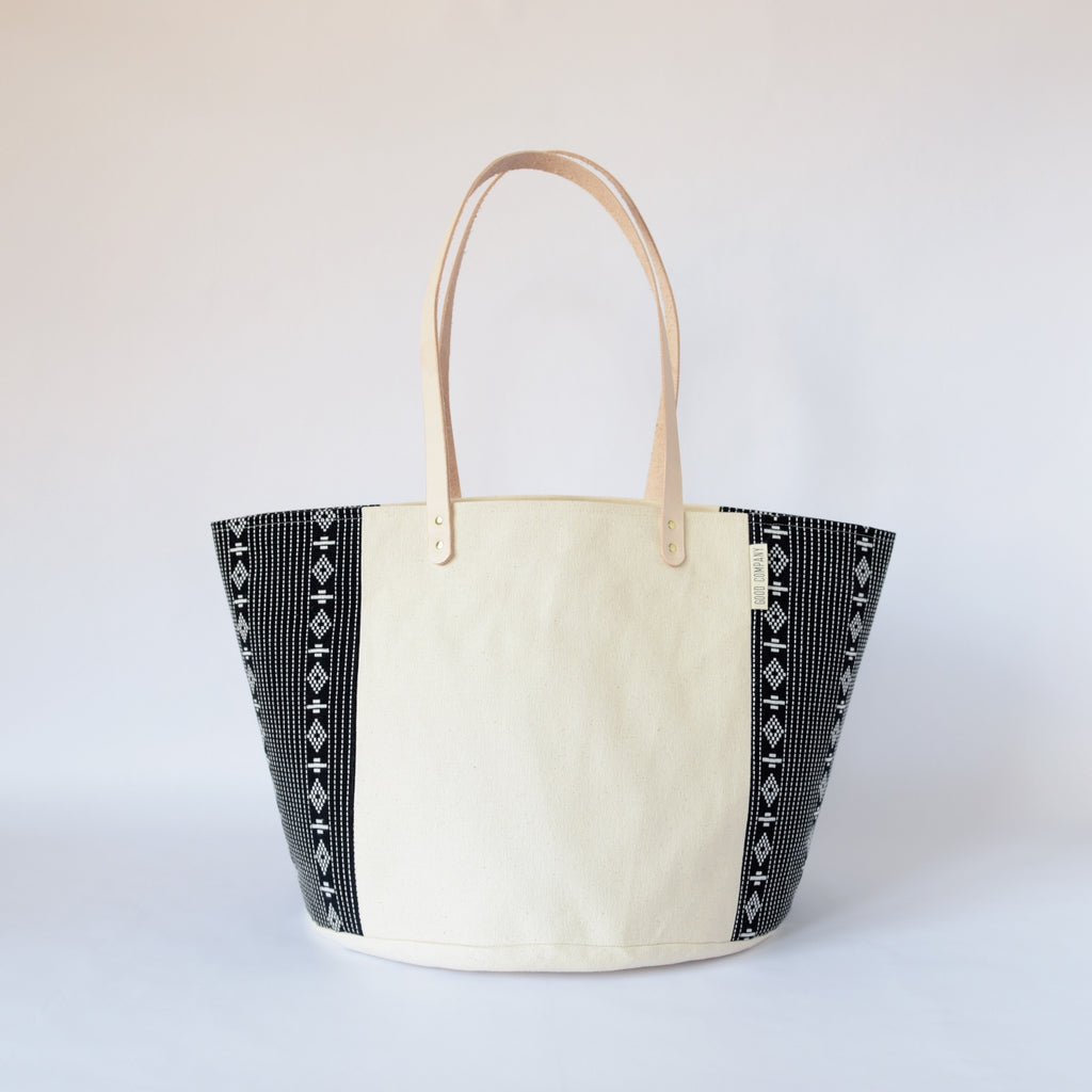 Natural Canvas Bucket Tote | Black