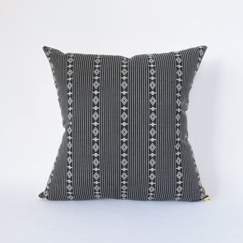 Natural Canvas Throw Pillow | Black