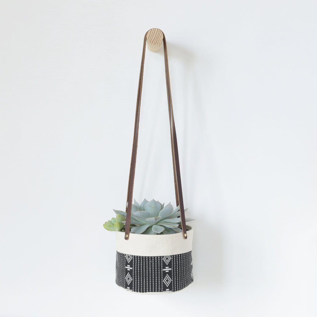 Medium Natural Canvas Hanging Planter | Black