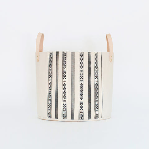 Medium Natural Canvas Bucket Basket | Black + White